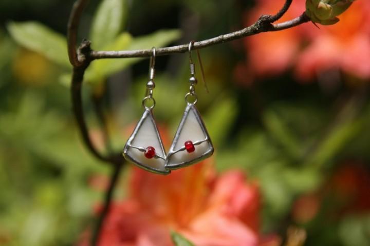earrings beige with bead - Tiffany jewelry