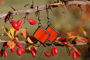 earrings red with patina - Tiffany jewelry