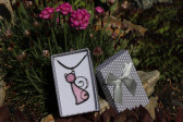 pink cat in a gift box - Tiffany jewelry