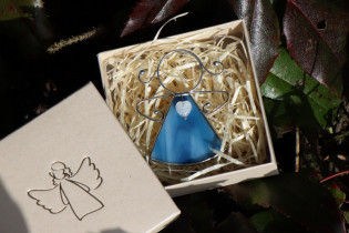 little angel with a blue heart  - Tiffany jewelry