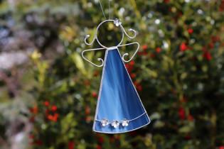blue angel with flowers  - Tiffany jewelry